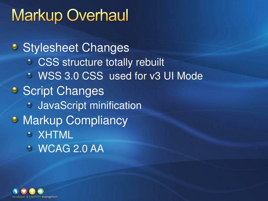 Markup Overhaul