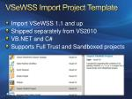 vsewss import project template