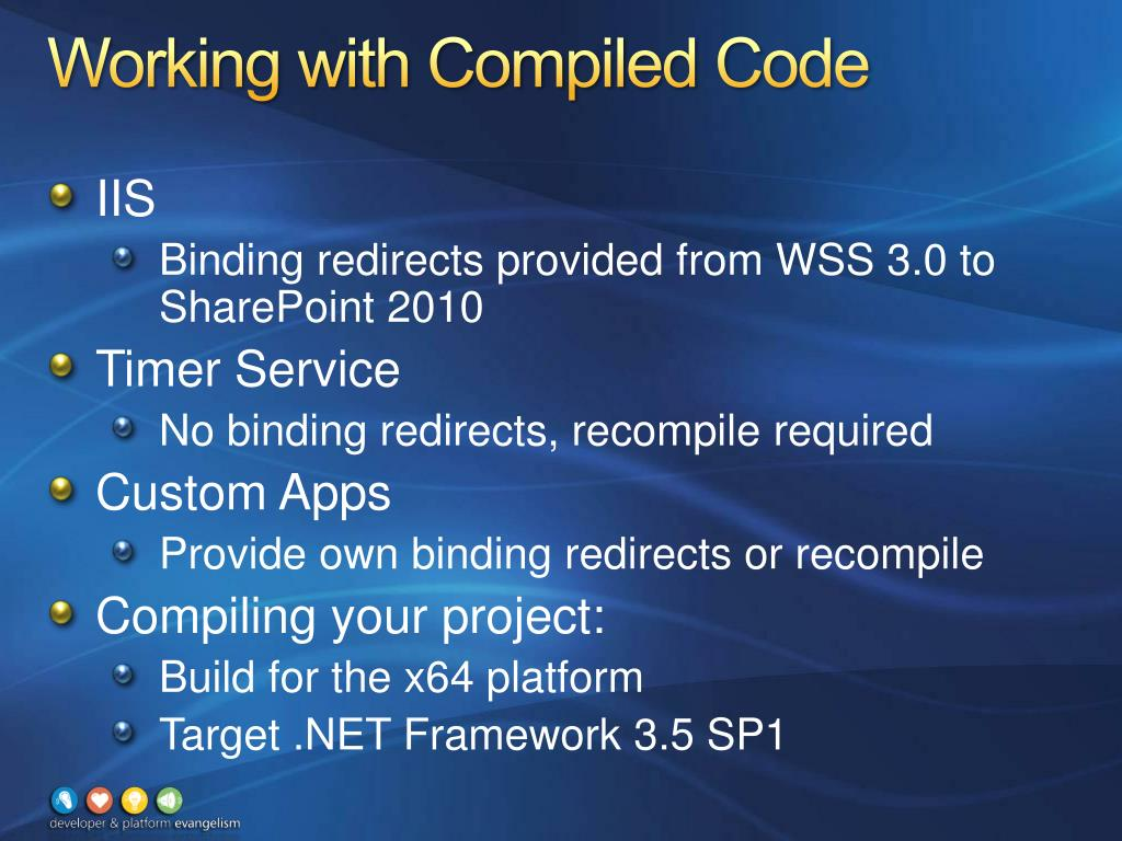 Working with Compiled Code