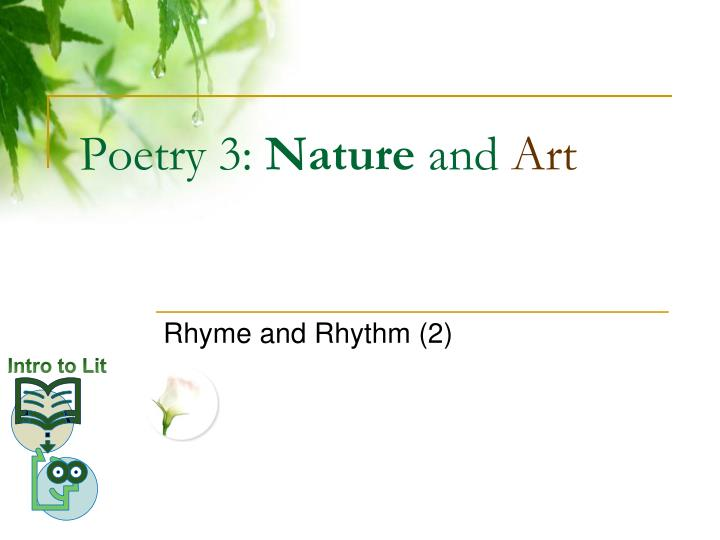 Poetry 3 nature and art