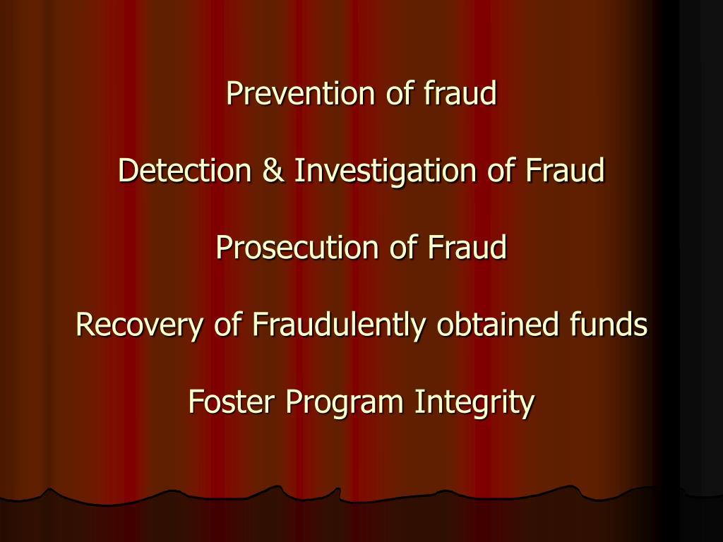 Prevention of fraud