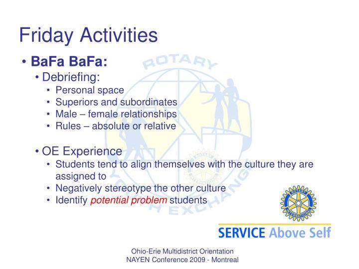 Friday Activities