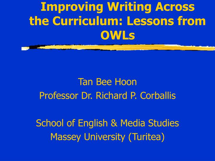 Improving writing across the curriculum lessons from owls