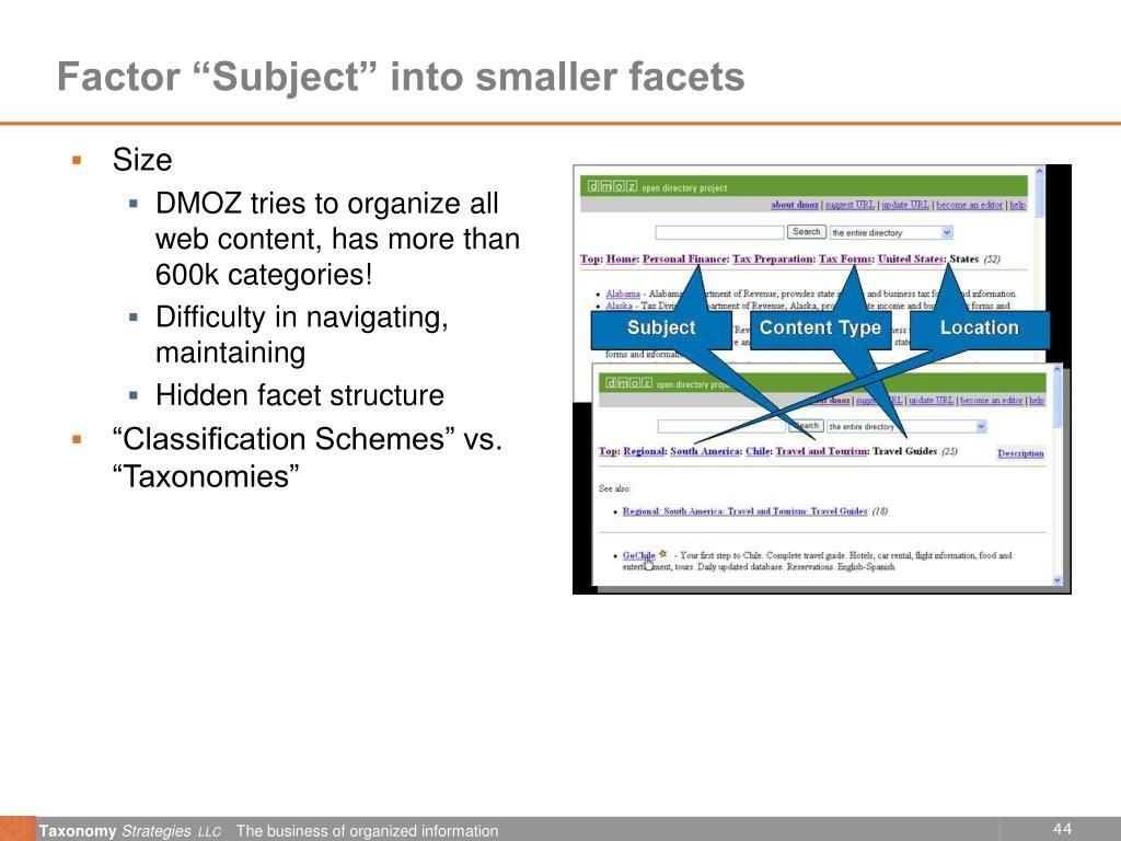 "Factor ""Subject"" into smaller facets"