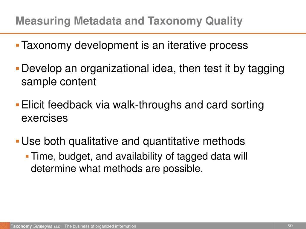 Measuring Metadata and Taxonomy Quality