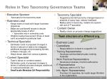roles in two taxonomy governance teams