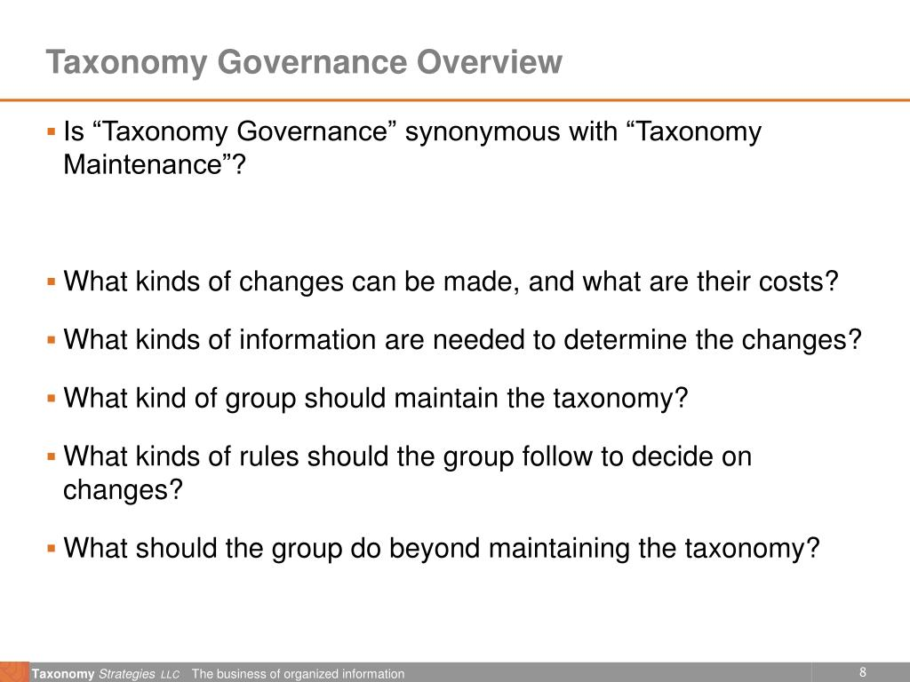 Taxonomy Governance Overview