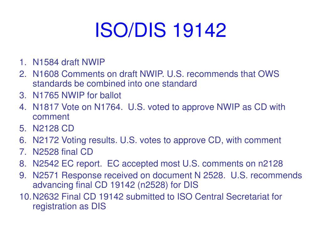 ISO/DIS 19142