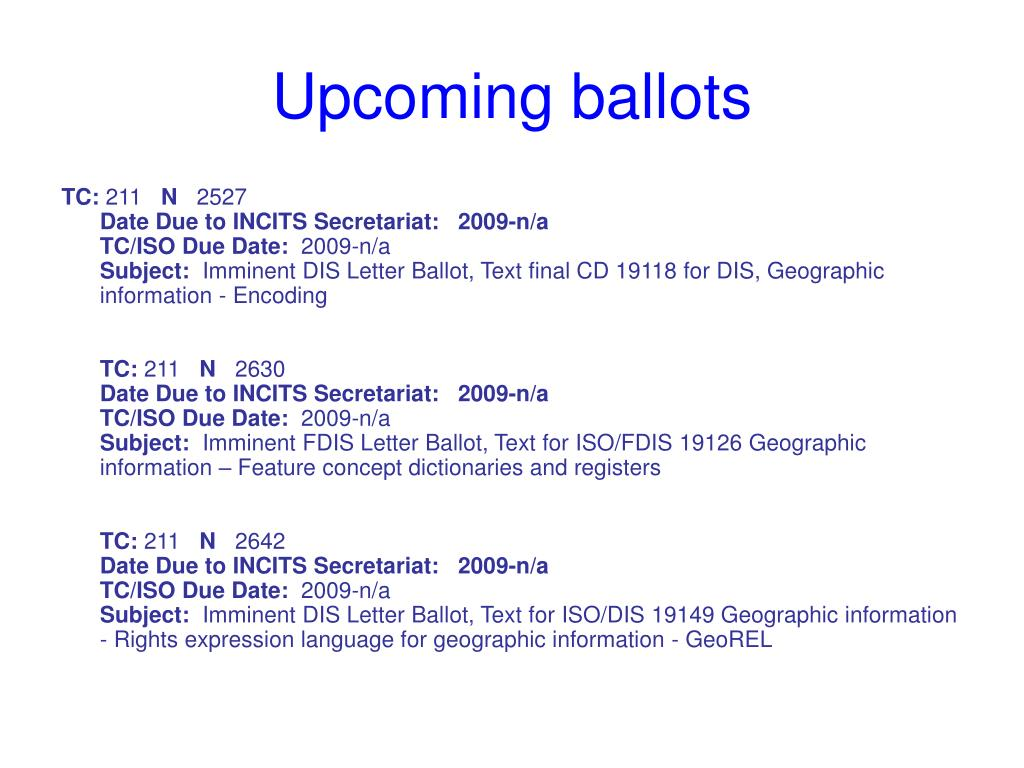 Upcoming ballots