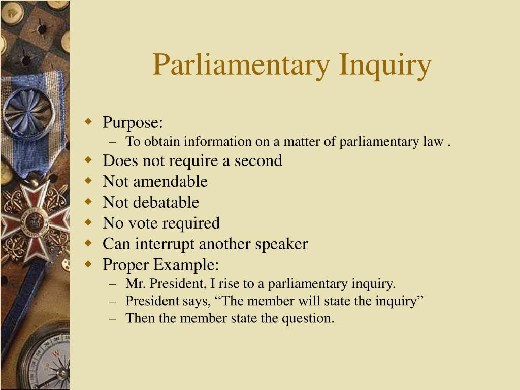 Parliamentary Inquiry
