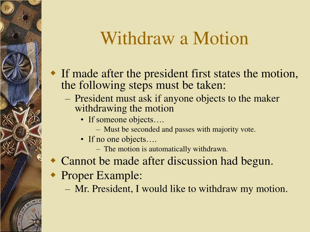 Withdraw a Motion