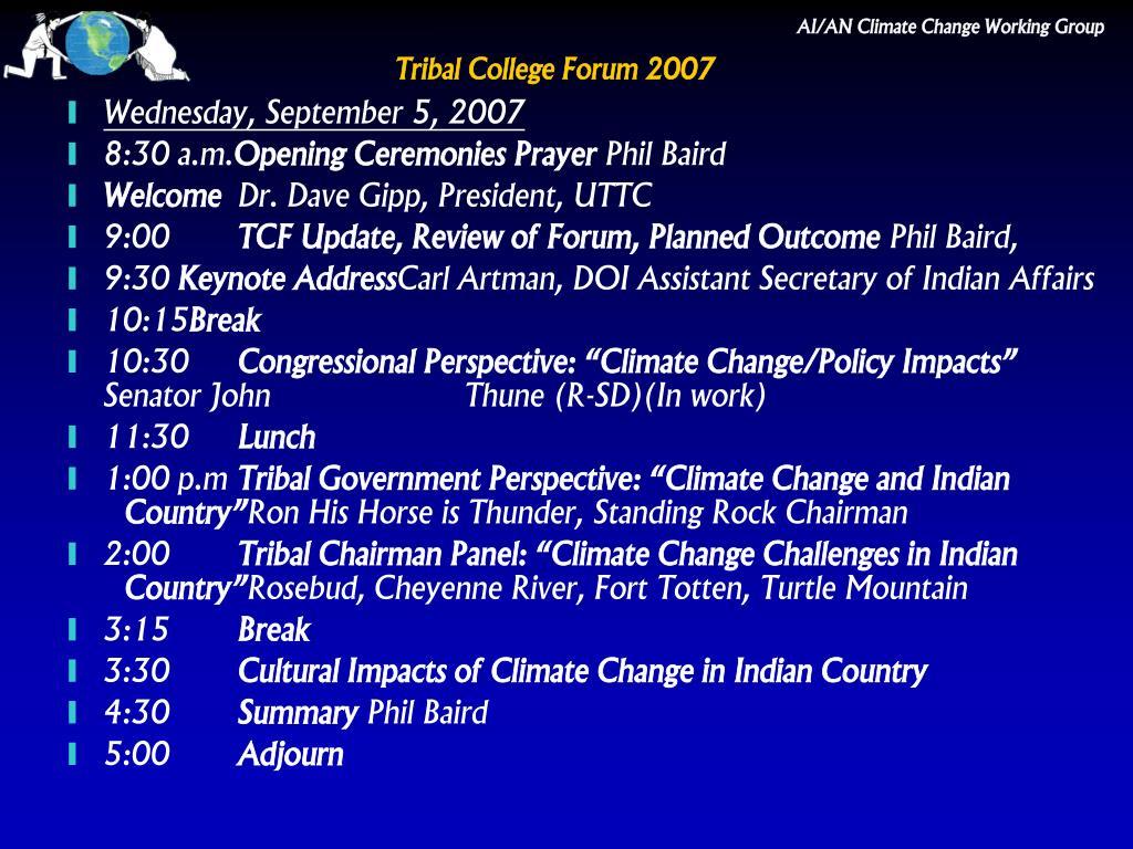 Tribal College Forum 2007
