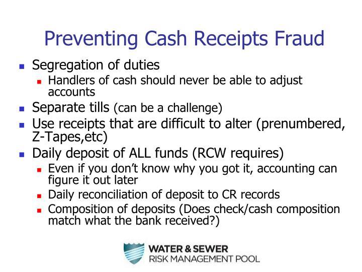 Preventing Cash Receipts Fraud