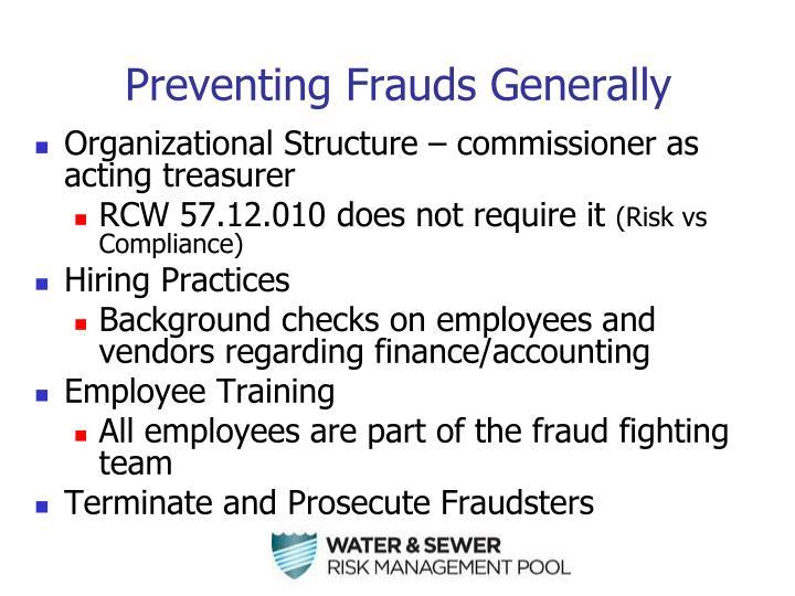 Preventing Frauds Generally
