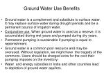 ground water use benefits