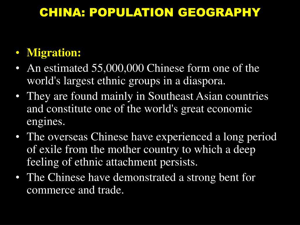CHINA: POPULATION GEOGRAPHY
