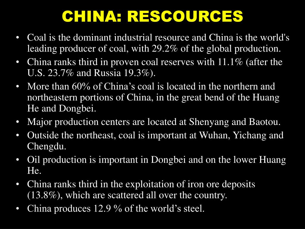 CHINA: RESCOURCES