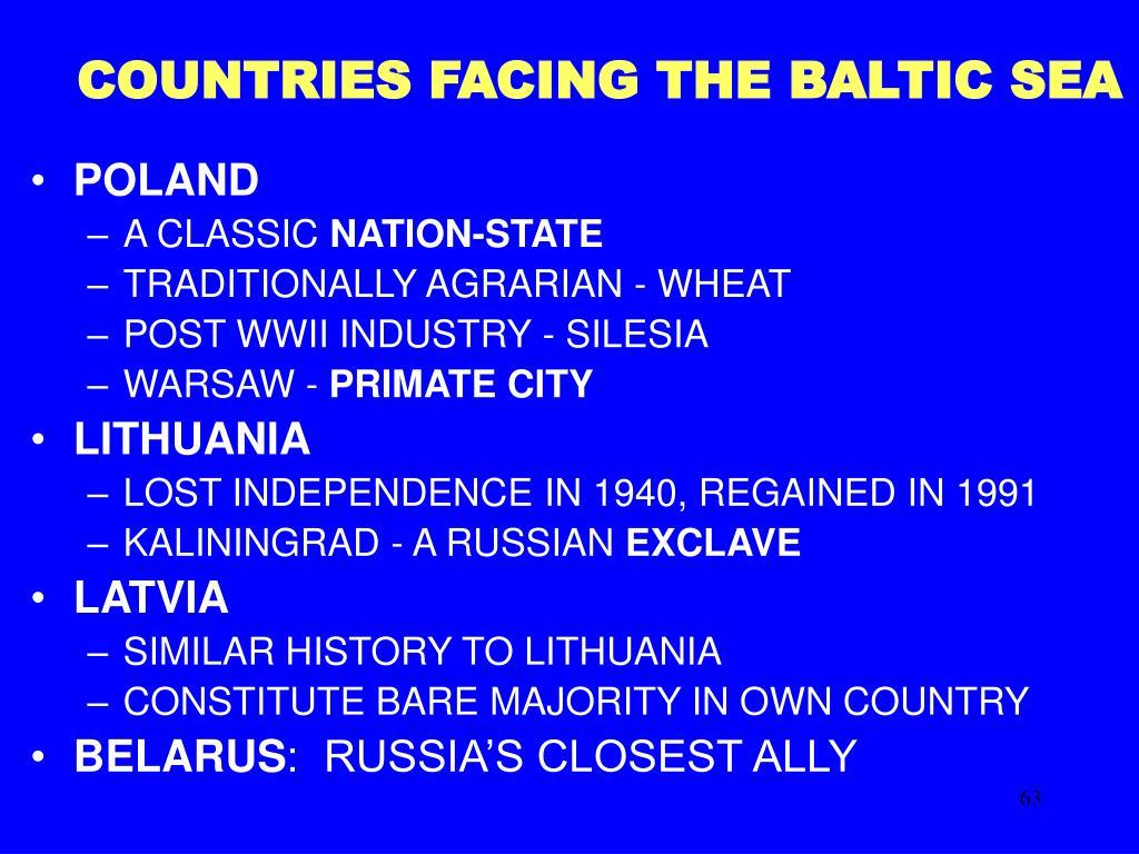 COUNTRIES FACING THE BALTIC SEA