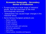 economic geography secondary sector of production