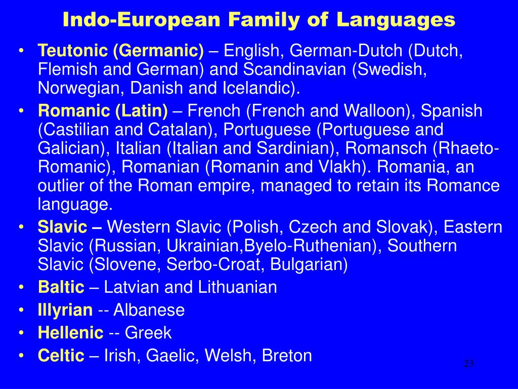 Indo-European Family of Languages