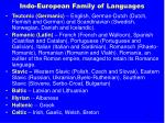 indo european family of languages