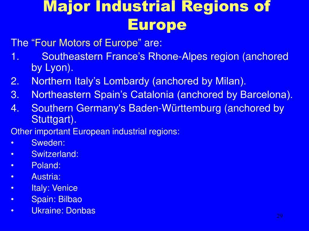 Major Industrial Regions of Europe