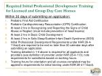 required initial professional development training for licensed and group day care homes