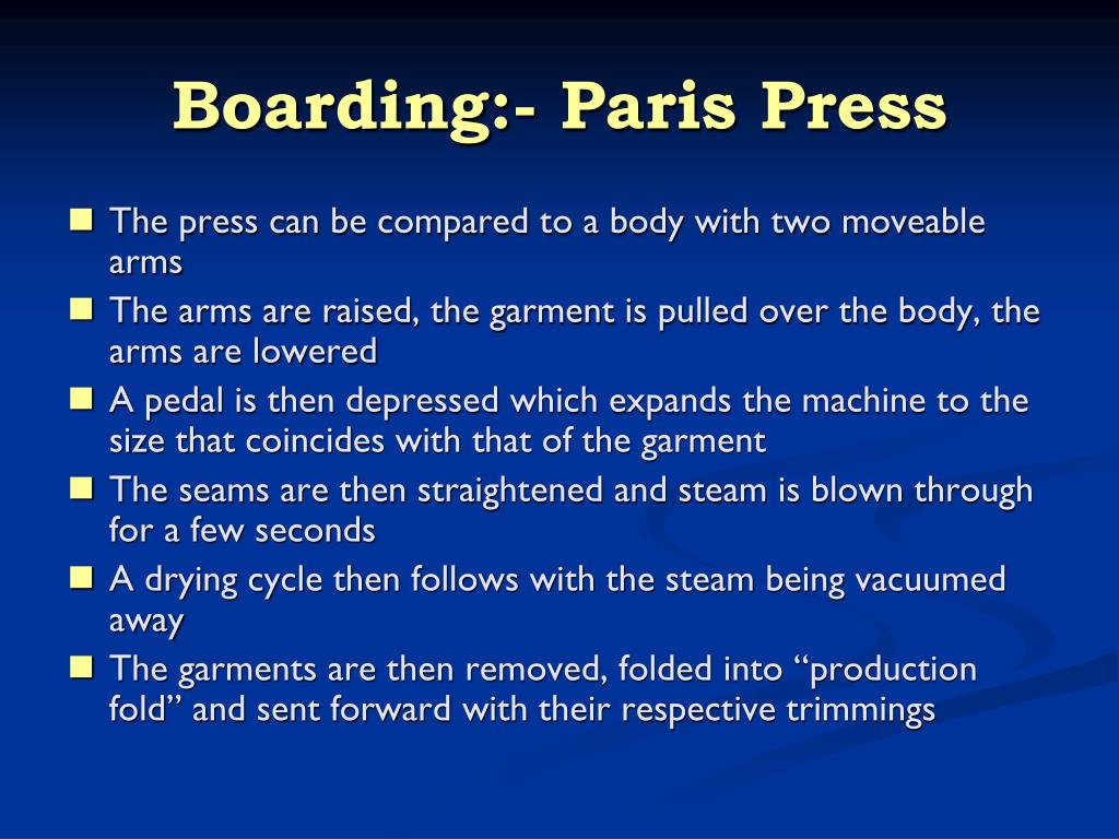 Boarding:- Paris Press