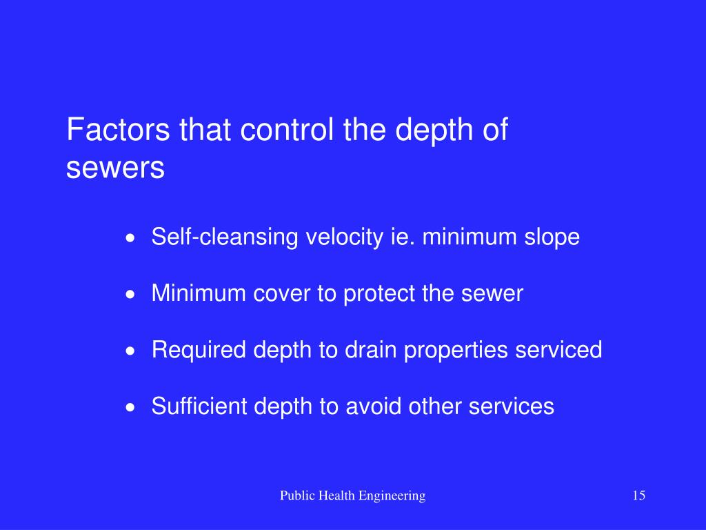 Factors that control the depth of sewers
