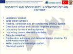biosafety and biosecurity laboratory design criteria