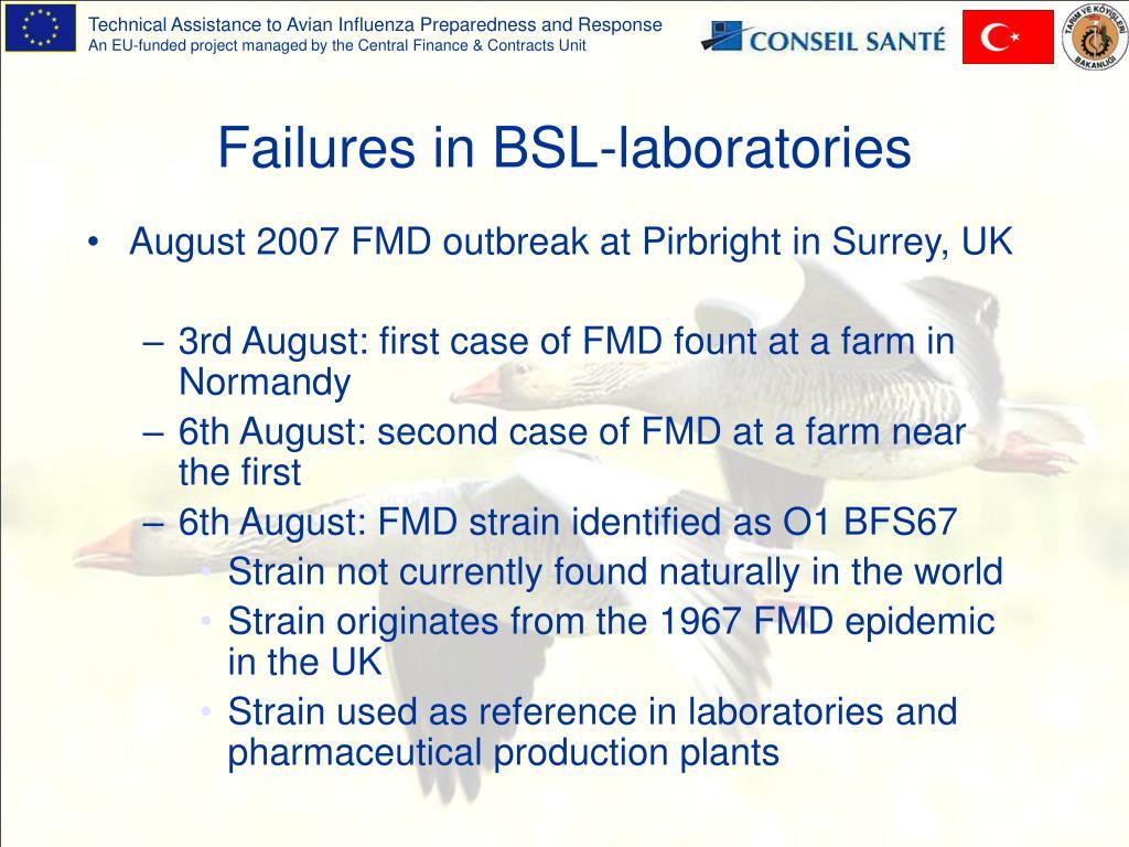 Failures in BSL-laboratories