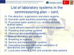 l ist of laboratory systems in the commissioning plan cont