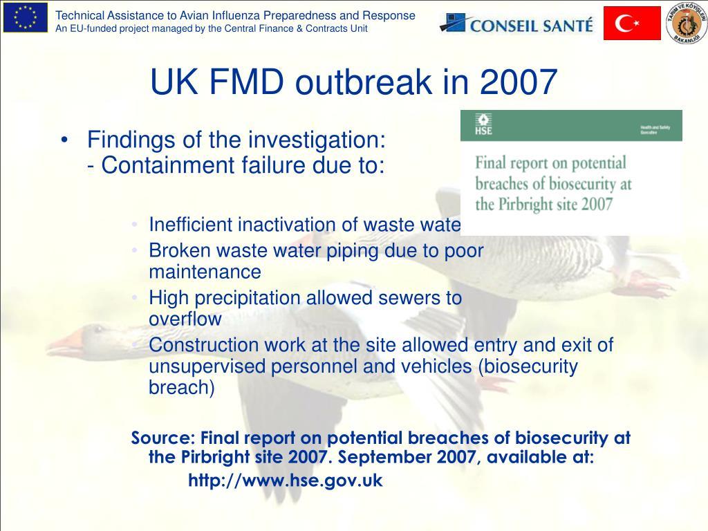 UK FMD outbreak in 2007