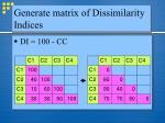 generate matrix of dissimilarity indices