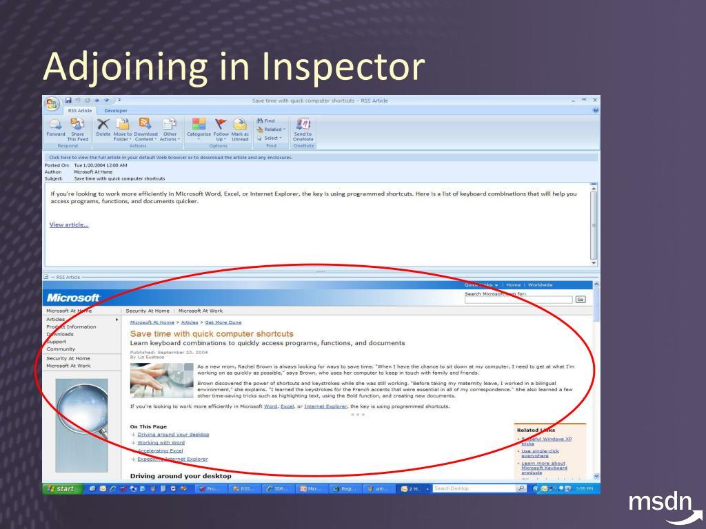 Adjoining in Inspector