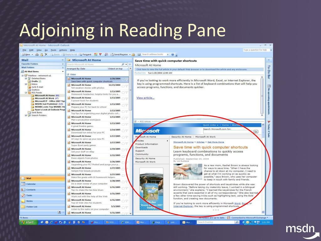 Adjoining in Reading Pane