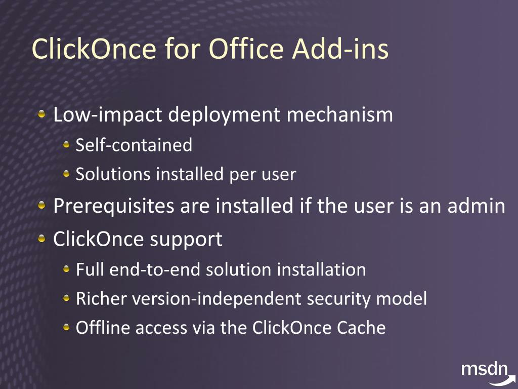ClickOnce for Office Add-ins