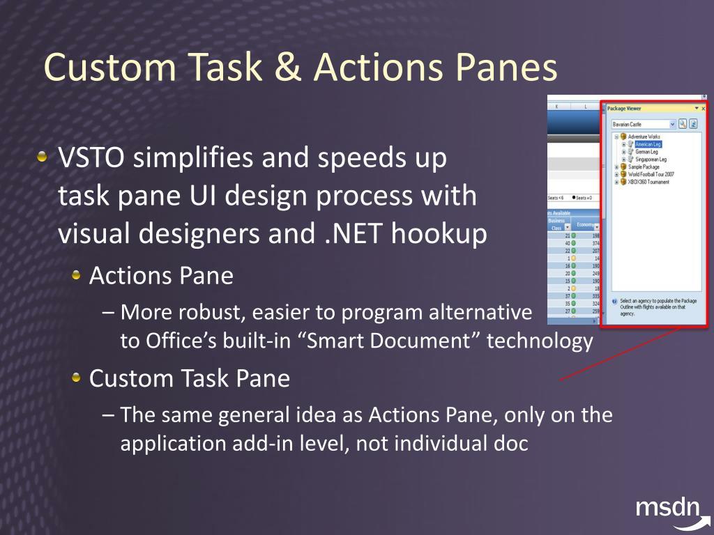 Custom Task & Actions Panes