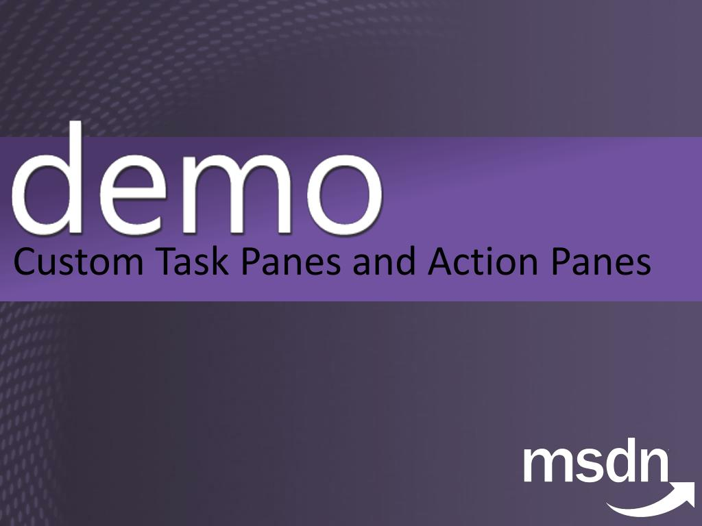 Custom Task Panes and Action Panes