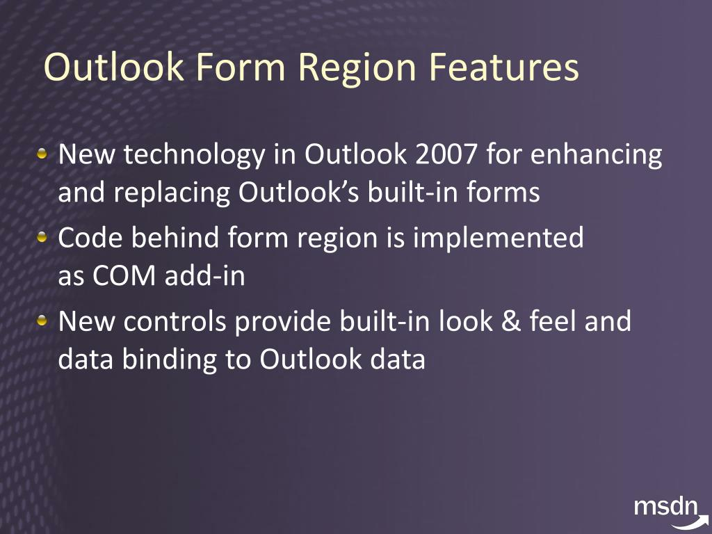 Outlook Form Region Features
