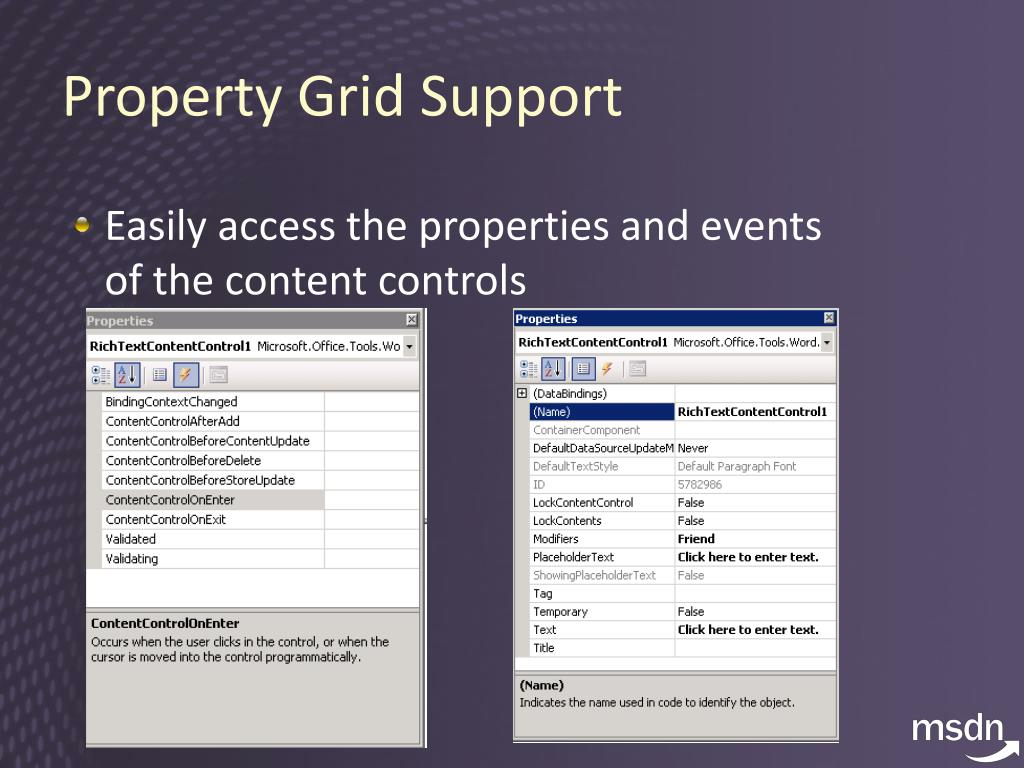 Property Grid Support