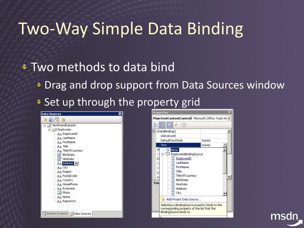 Two-Way Simple Data Binding