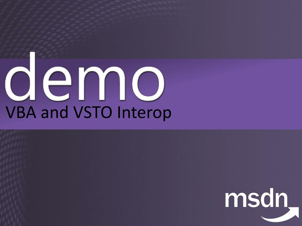 VBA and VSTO Interop
