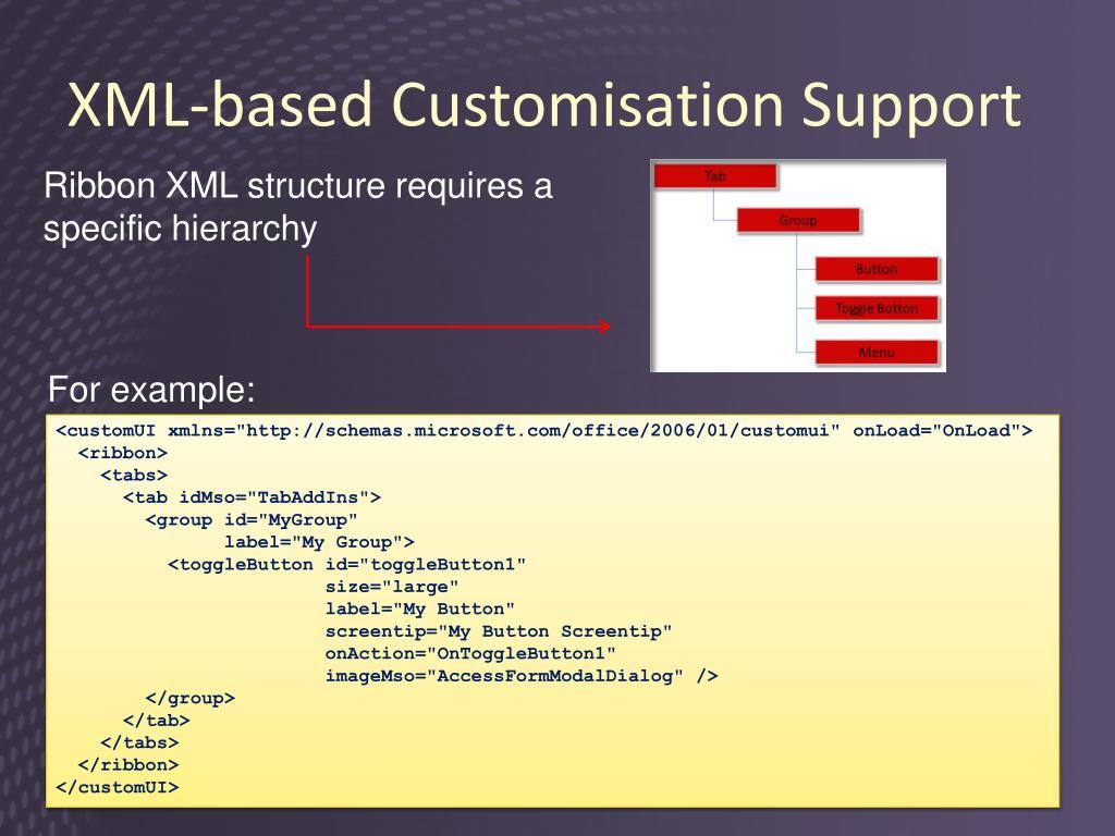 XML-based Customisation Support
