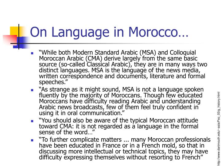 On Language in Morocco…