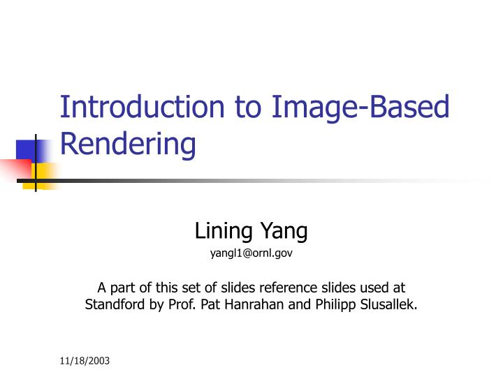 introduction to image based rendering n.