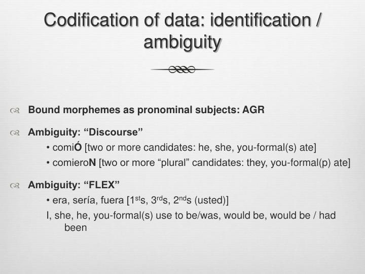 Codification of data: identification / ambiguity
