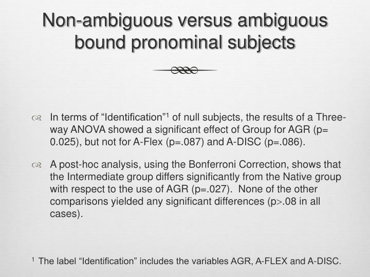 Non-ambiguous versus ambiguous bound pronominal subjects