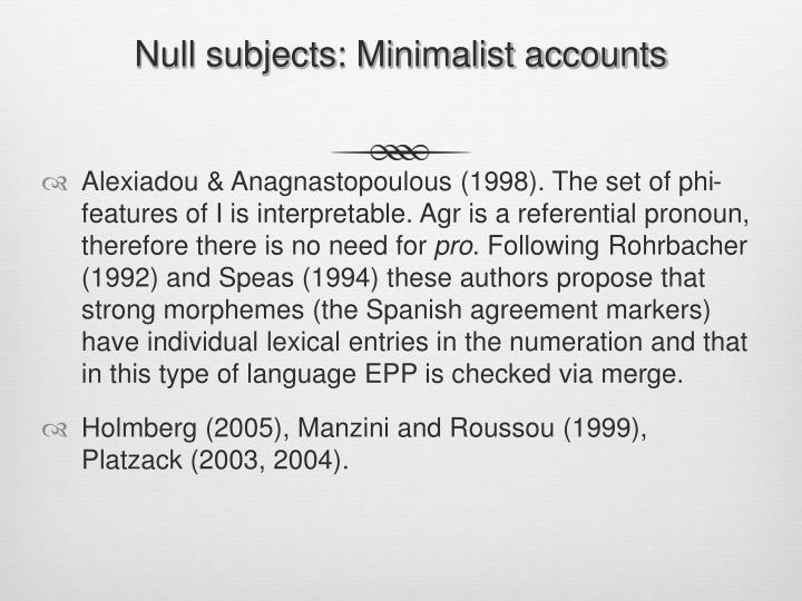 Null subjects: Minimalist accounts