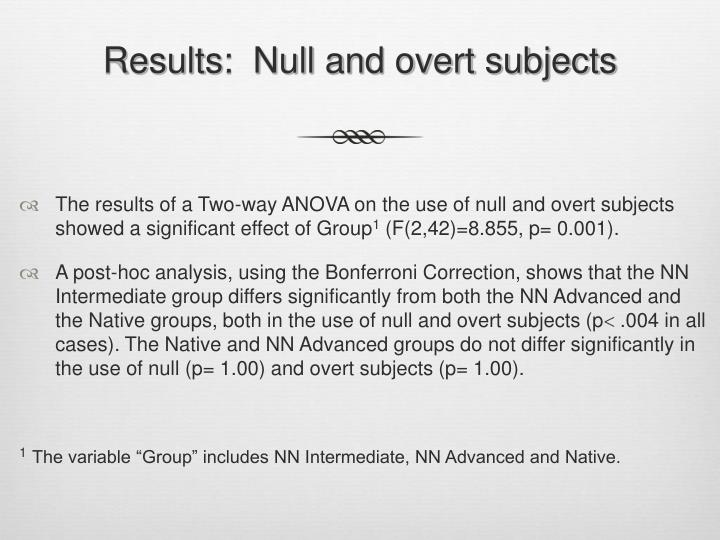 Results:  Null and overt subjects